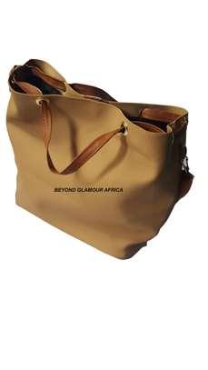 Ladies Beige Leather Handbag With Ankara Strip image 2