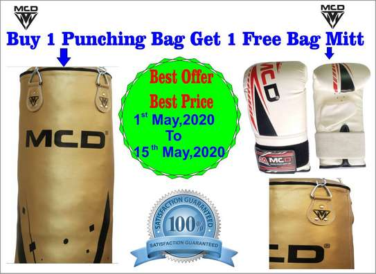 MCD Punching Bag 5 FT UNFILLED Set Kick Boxing Heavy MMA Training with Gloves Punching Mitts Hanging Chain Muay Thai Martial Arts image 1