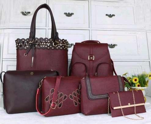 Maroon leather handbag image 1