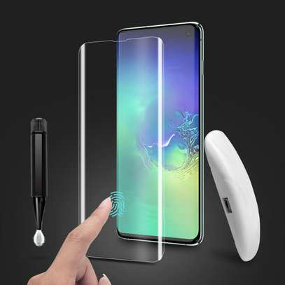 UV Light adhesive tempered glass screen protector for Galaxy S10,S10e and S10 Plus + LED Kit image 2