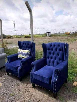 2 desined king chairs (blue) image 1