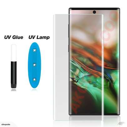 UV Light adhesive tempered glass screen protector for Samsung Galaxy Note 10,Note 10 Plus + LED Kit image 1