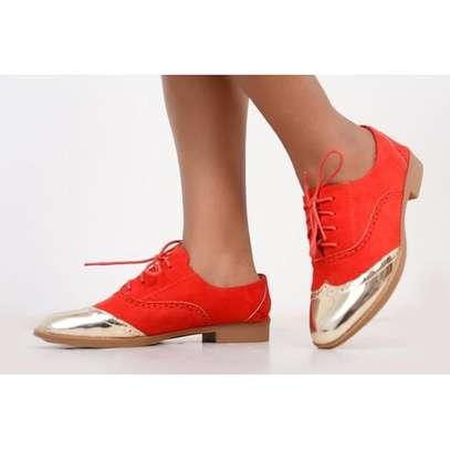 Red-silver-brown Fashion Brogues Ladies Laced Shoes image 1