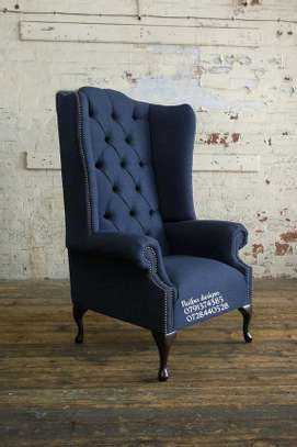 Tufted blue chairs/one seater sofas/single seats image 1