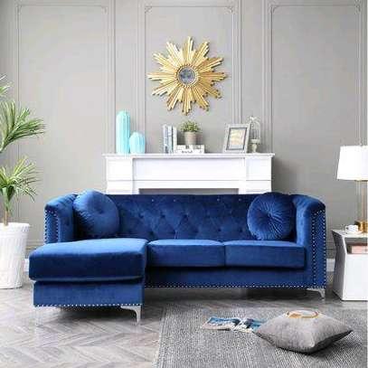 Modern three seater L shaped sofas for sale in Nairobi Kenya/Modern blue velvet three seater sofa for sale in Nairobi Kenya image 1