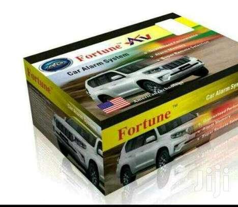 New fortune car alarm with cutoff, free installation image 1