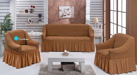 7 seater brown elastic sofa covers image 1