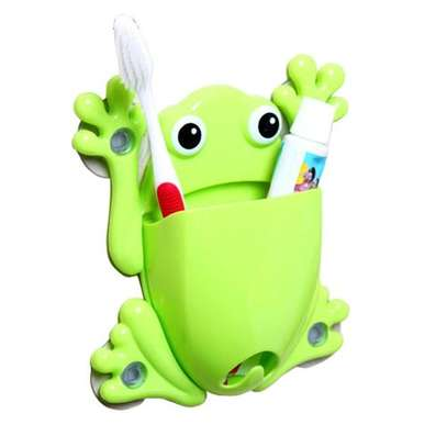 Toothbrush Holder Toothpaste Container Creative PVC Decorations Bathroom Suction Hooks - Green