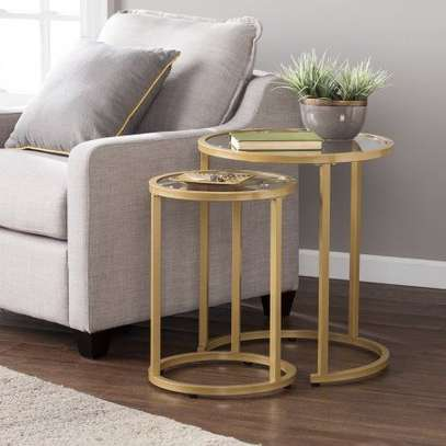 2 Piece Nesting Side Table Set (Gold) image 1