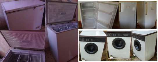 Freezer, Fridge, Washing machine.