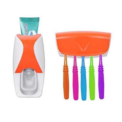 Automatic Toothpaste Dispenser Set with 5 Toothbrush Holder(Orange)
