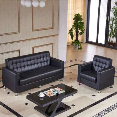 Executive Leather Office Sofa & Lobby Seating Visitor's 5 Seater Chairs image 2