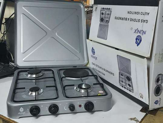 Nunix 4 Burner Table Top Gas Cooker Stove With Electric Hot Plate image 1