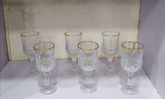 Crystal Wine Glass with Gold Rim image 1