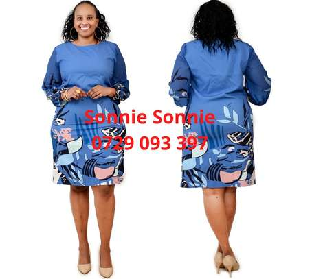 Sky blue floral Turkey shift dress image 1
