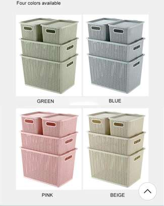 4 in 1 storage boxes white and green only image 1