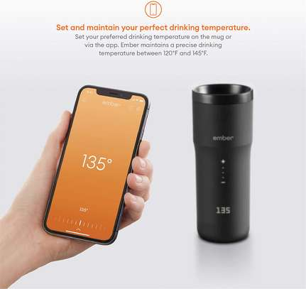 NEW Ember Temperature Control Smart Mug 2, 12 oz, Black, 3-hr Battery Life - App Controlled Heated Coffee Travel Mug - Improved Design image 2