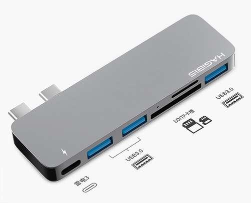 HAGiBiS aluminum alloy 5-in-1 (dual head) USB2.0*2+USB3.0+HDMI+Thunderbolt3(DC6H) image 2