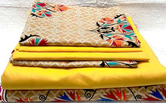 bed sheets 6 by 6 flowery dark yellow image 1