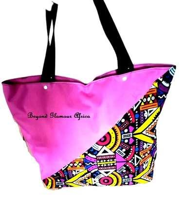 Womens Pink ankara canvas handbag image 1