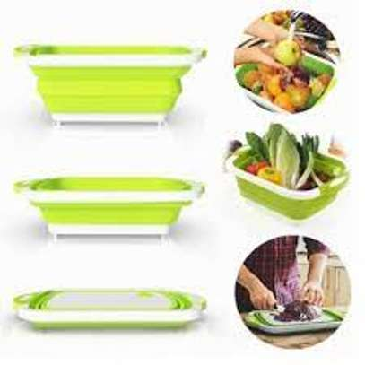 3 in 1 Collapsible Cutting Board with Colander Vegetable Fruits Cutting Board,Foldable Washing Basin, Portable Dish Washing Tub, Drain Sink Storage Basket for Home Kitchen Outdoor Camping (Green) image 4