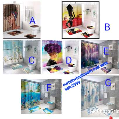 Curtain+bathroom mat sets image 1