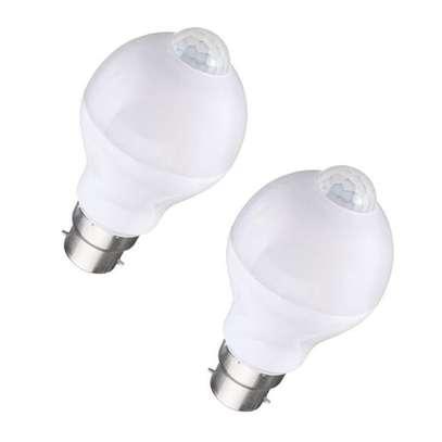 7W Auto PIR Motion + Light Sensor Detection LED Light Lamp Globe Bulb White (Pack of 2) image 1