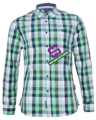 Light Green Slim Fit Long Sleeved Shirts