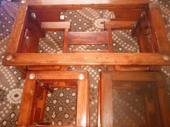 Pure Mahogany Coffee Table and 2 Stools image 4