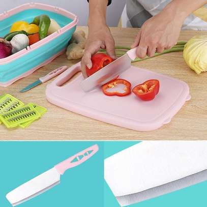 10 in 1 multi~ fuctional  Slicer, 2knives with Collapsable Colander& Chopping Board image 6