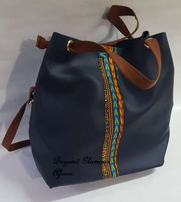 Ladies Blue Leather Handbag With Ankara Strip image 1