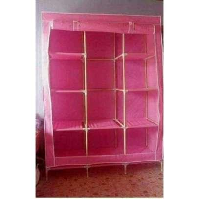 3 Column Wooden Wardrobe- Pink image 2
