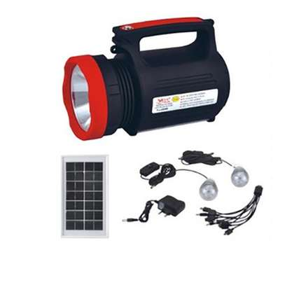 Solar Power Lighting System With Solar Panel - Black