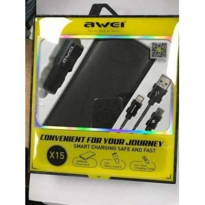 Awei X15 3 In 1, 10000mah Power Bank, Data Cable And Car Charger image 3
