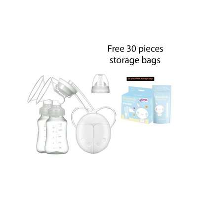 Double Electric Breast Pump With Milk Bottle plus Free Milk Storage Bags image 1