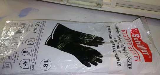 Industrial latex gloves (black, long, heavy duty gloves) image 1