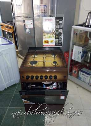 Mika Standing Cooker, 60cm X 60cm, All Gas, Gas Oven, Dark Brown image 1