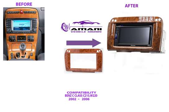 2 Din Car Radio Fascia For 2002-2006 Mercedes Benz Cl-Class (215) S-Class (W220) Wooden Finish, Abs Plastic