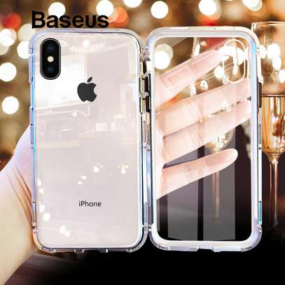 Magnetic Adsorption Case For iPhone X XS- Clear Glass Back image 6