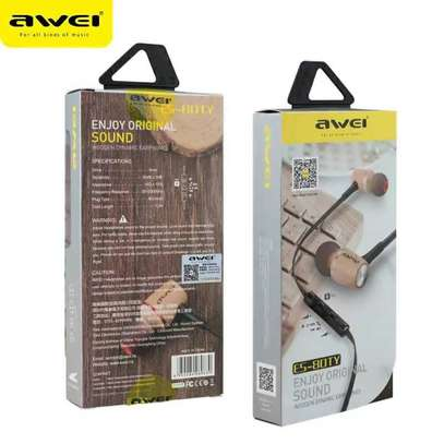 Awei ES80TY Wooden Dynamic Earphones In Ear Stereo Subwoofer Bass, Mic image 2