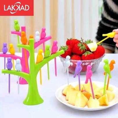 Birdie 6pcs Fruit  pick forks set with stand image 4