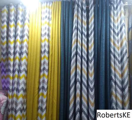 elegant patterned curtain with blue linen curtain image 1