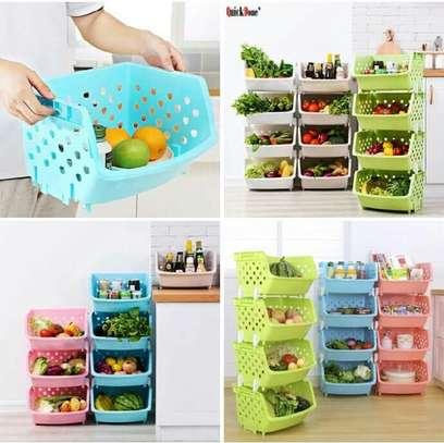 4 Tier Fruit/Vegetable Basket/Rack Plastic Fruit Storage image 2