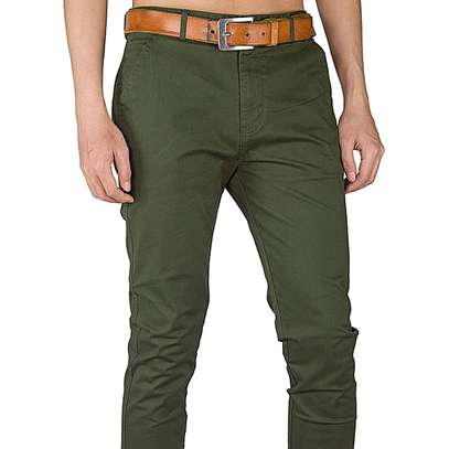 Men's Trouser Stretch Slim Fit Casual-Green image 1