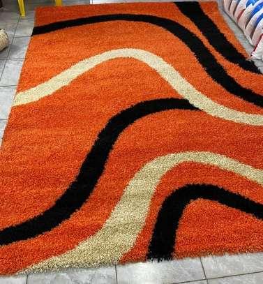 Turkish shaggy carpet orange print image 1