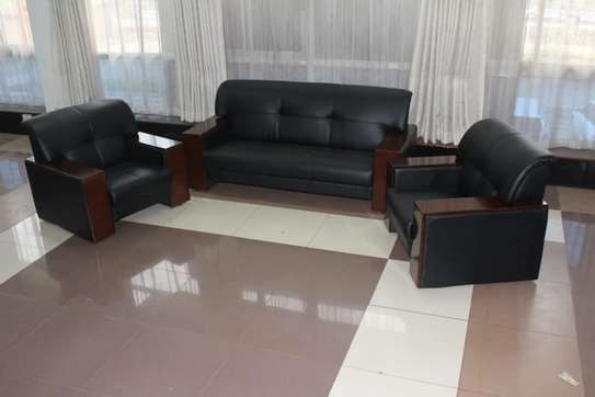 Executive Leather Wood Frame Office Sofa 5 Sitter
