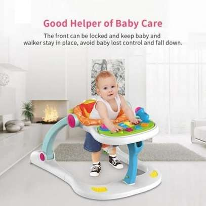 multifunctional musical lion four in one baby walker- white image 2