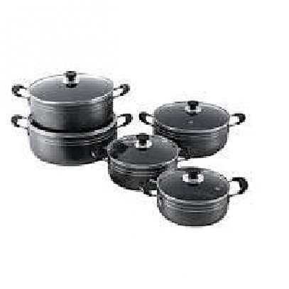 Non stick cooking pots 11 pieces - Black image 1