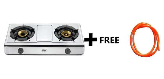 Gas Stove, Table Top, Stainless steel, 2 Burner + Free 2M Gas Pipe