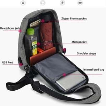 Anti theft cross body backpack (single strap with a USB charging port image 1